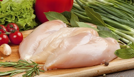 Fresh raw chicken  fillet  and vegetables